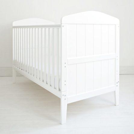 Łóżeczko niemowlęce i dziecięce Hampton Cot Bed, białe - łóżeczka dla niemowląt i dzieci z opcją Junior 140x70 | Woodies® Safe Dreams - meble i materace dla dzieci
