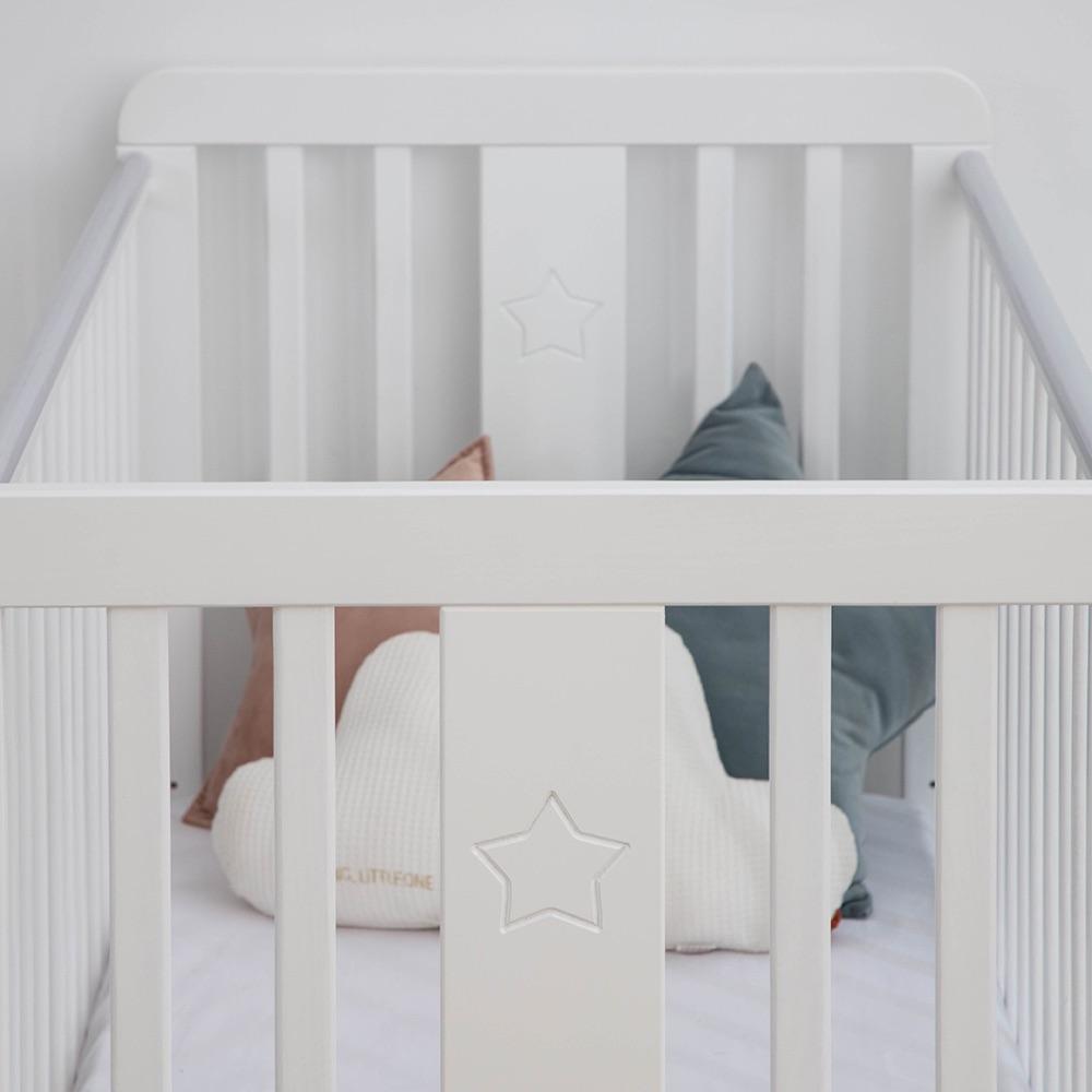 Lozeczko dzieciece i niemowlece Woodies 120x60 wyprawka dla noworodka, lozeczko dla dzieci, drewniane, w stylu bajkowym