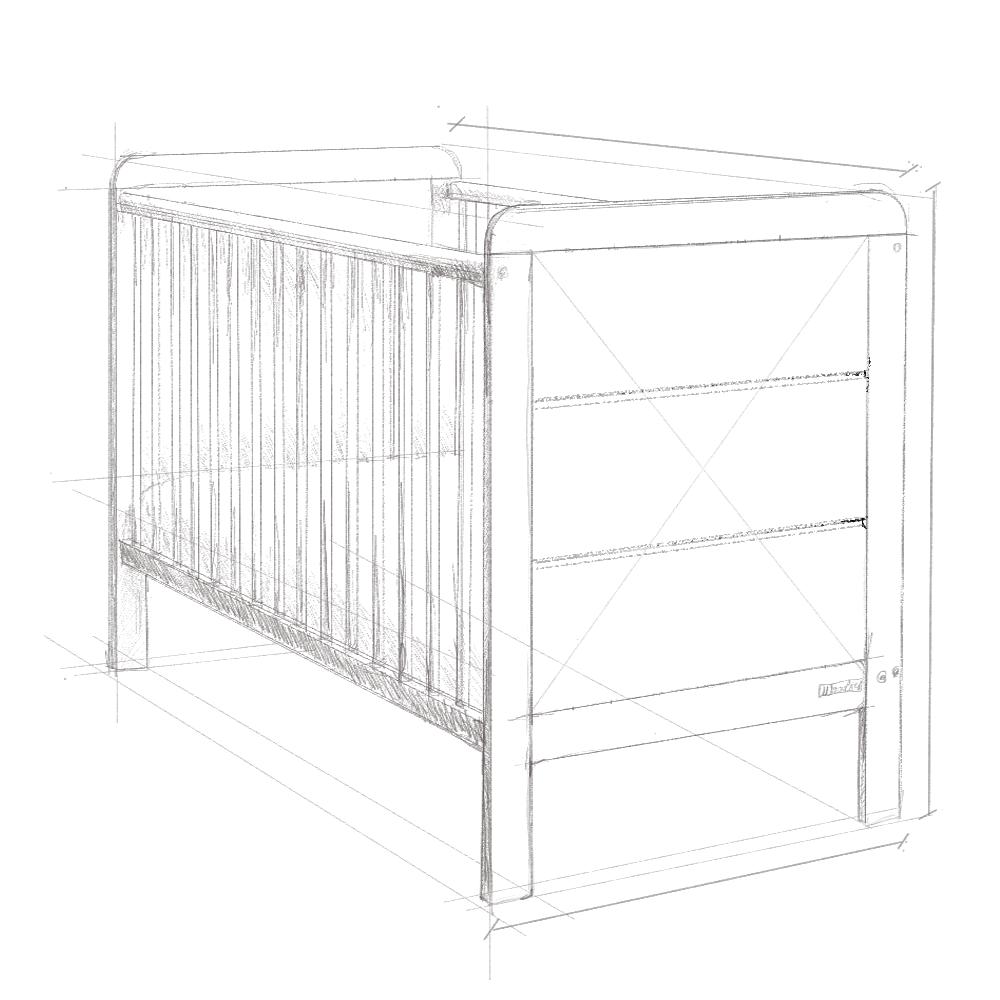 Łóżeczko niemowlęce, dwustonność szczytów Woodies Modern Cot szkic .png