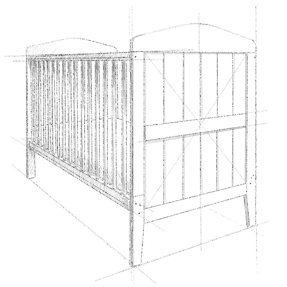 Łóżeczko dziecieće i niemowlęce Hamton Cot Bed 140x70, z drewna,w kolorze białym