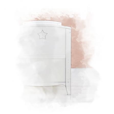 Starlight Cot__akwarela Łóżeczko niemowlęce i dziecięce Starlight Cot Bed, białe - łóżeczka dla niemowląt i dzieci z opcją Junior 140x70   Woodies® Safe Dreams - meble i materace dla dzieci