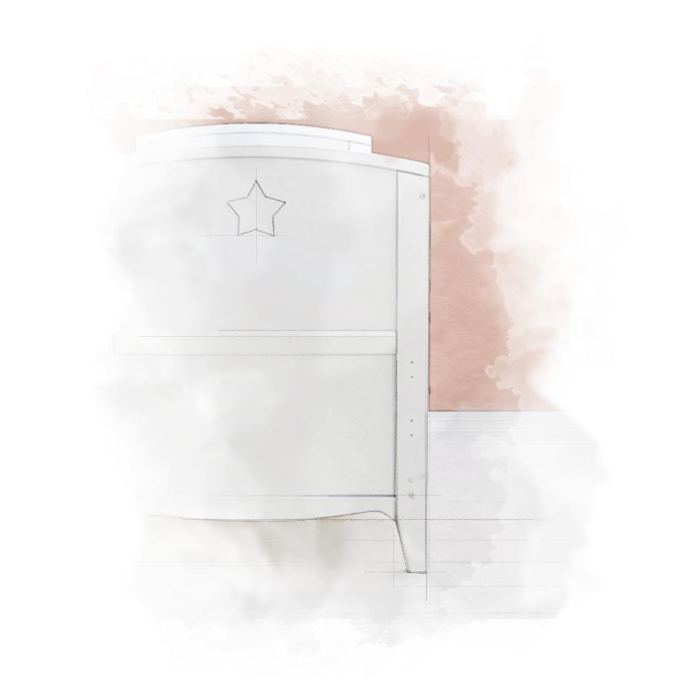 Starlight Cot__akwarela Łóżeczko niemowlęce i dziecięce Starlight Cot Bed, białe - łóżeczka dla niemowląt i dzieci z opcją Junior 140x70 | Woodies® Safe Dreams - meble i materace dla dzieci