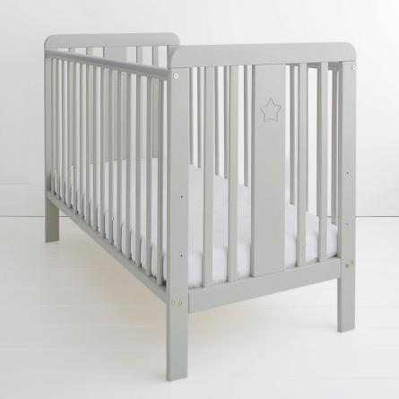 Łóżeczko niemowlęce i dziecięce Star Cot, szare - łóżeczka dla niemowląt i dzieci z opcją tapczanika 120x60 | Woodies® Safe Dreams - meble i materace dla dzieci