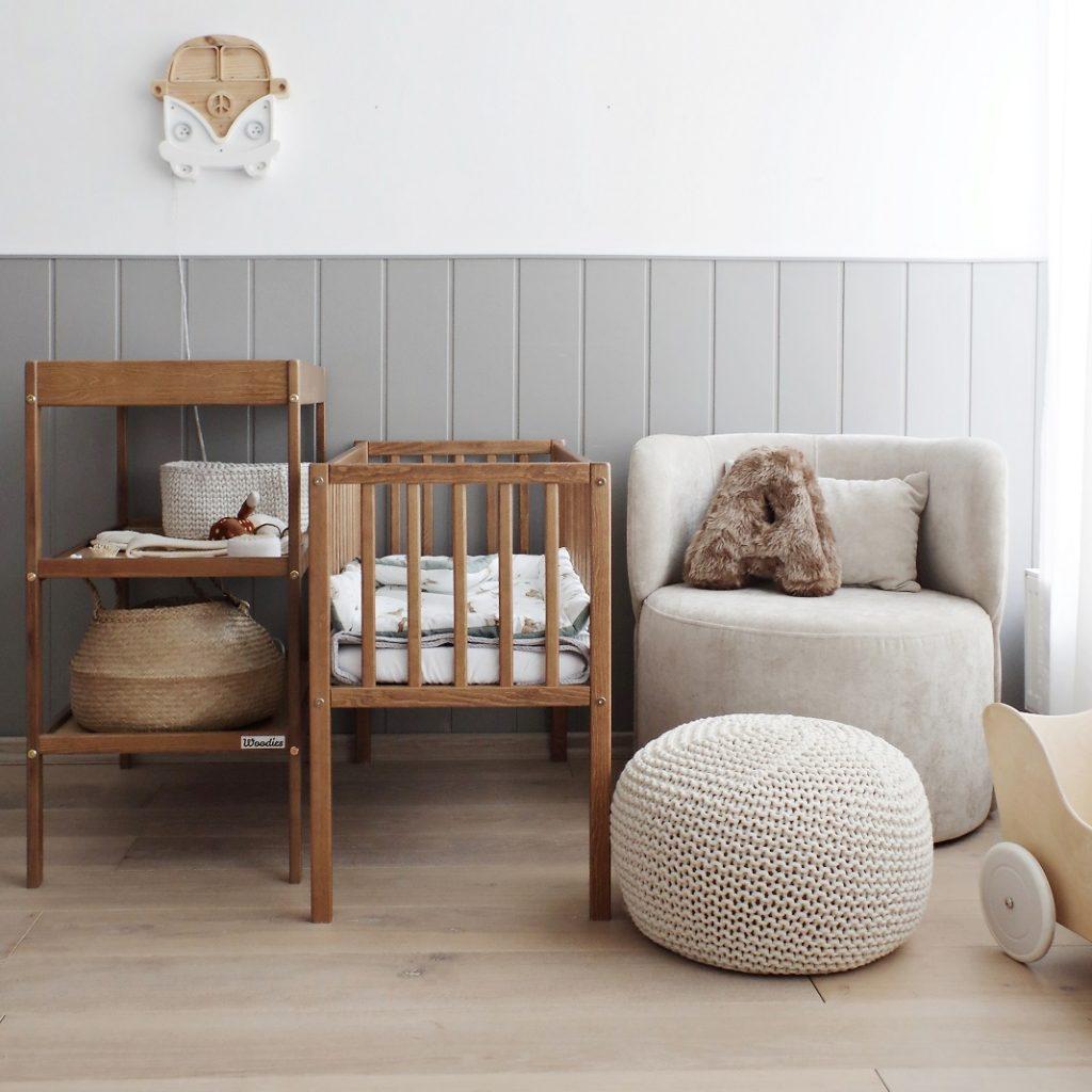 Łóżeczko niemowlęce dziecięce Bedside Crib 90x40 Woodies Safe Dreams łóżeczko w stylu nowoczesnym, małe łóżeczka turystyczne