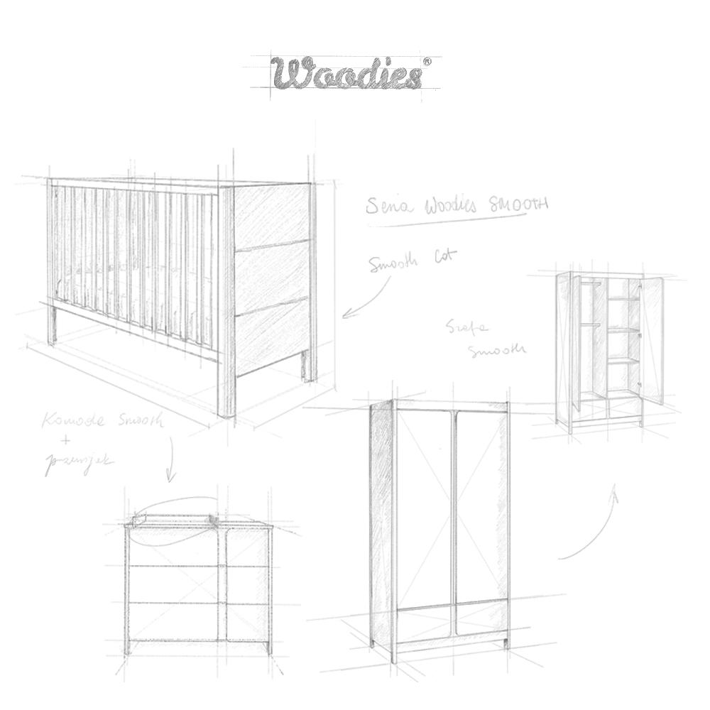 Seria Smooth Woodies Łóżeczko dziecięce Smooth Cot Bed
