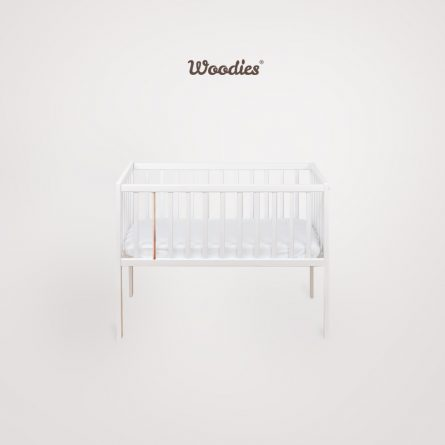 Bedside Crib Craft_biel_miedz Maffashion pokoik lozeczko dla dziecka Woodies, male lozeczka turystyczne 90x40