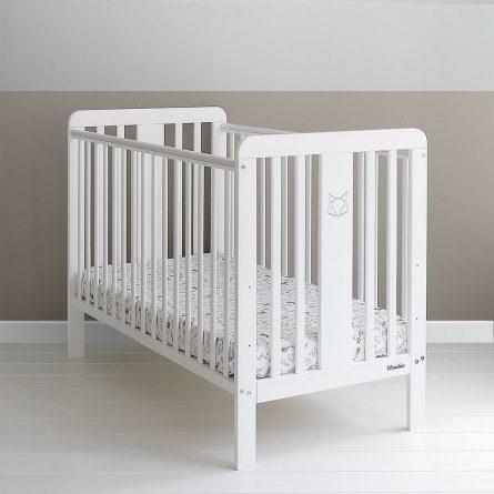 Lozeczko niemowlece i dzieciece Woodies z grawerem liska Foxy Cot 120x60 wyprawka dla niemowlaka.jpg