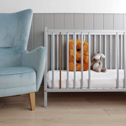 Łozeczko niemowlece Stardust Woodies 120x60 wyprawka dla noworodka, szare, popielate, Craft, atestowane, bezpieczne, ekspert od bezpiecznego snu