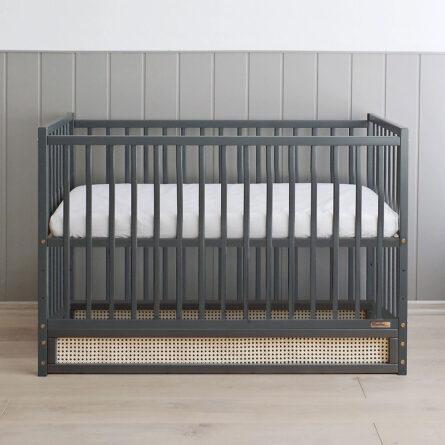 Lozeczko niemowlece i dzieciece Boho antracytowy ratan plecionka 120x60 3
